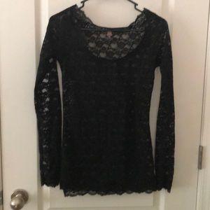 Women's medium black lace blouse